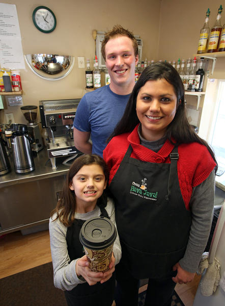 Tiffany Russell, right, is the owner of Gotta Hava Java on 1110 Sixth Ave. S.E. Pictured with her are her daughter, Tianna Russell, 9, and Cale Cornemann, manager.