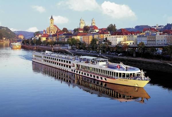 The Viking Spirit cruises through Passau on the Danube River.