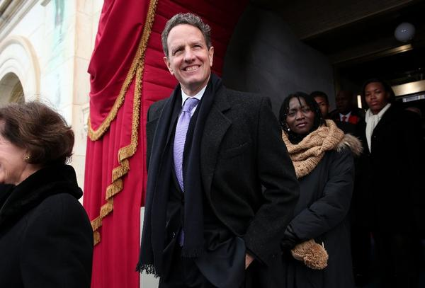 Outgoing Treasury Secretary Timothy F. Geithner arrives at President Obama's inauguration ceremony on Monday.