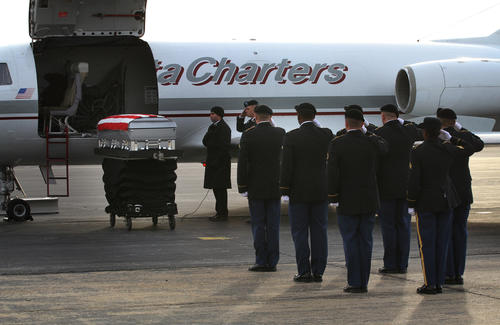 Dignified Transfer of remains of U.S. Army Sgt. David J. Chambers returning him home today to Hampton Va.  The Ft. Eustis Honor Guard unit conducted the Dignified Transfer  at Newport News Williamsburg Airport this morning. This passing National Guardsmen at the airport shows honors for Sgt. David J. Chambers as he past by.