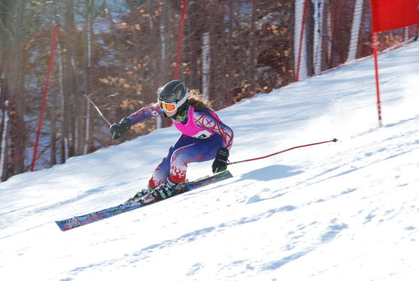Harbor Springs senior Abigail Hackman won the girls slalom in 58.14 seconds Thursday as the Rams swept a five-team Lake Michigan Conference meet at Nub's Nob.