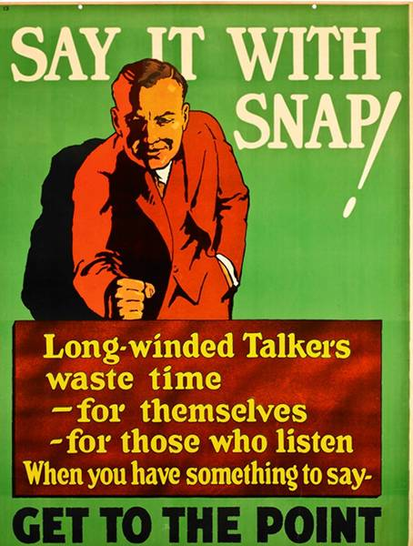 """Say It With Snap!"" is one of the vintage 1920s-era posters on view at the Peninsula Fine Arts Center in ""The Art of the Message."""