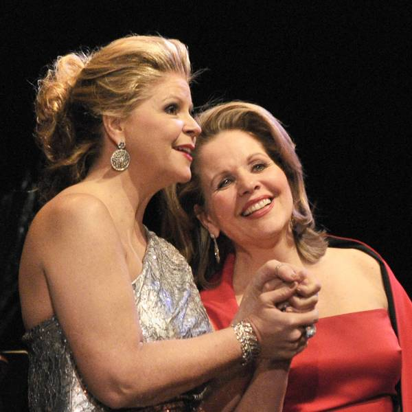 Two longtime colleagues, mezzo Susan Graham (left) and soprano Renee Fleming, performed a duo recital for Lyric Opera Thursday at the Civic Opera House.