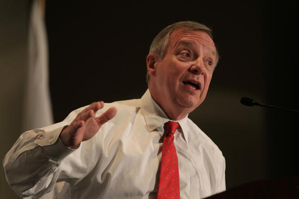 U.S. Senator Dick Durbin (D-IL) addresses a gathering in Springfield earlier this year.