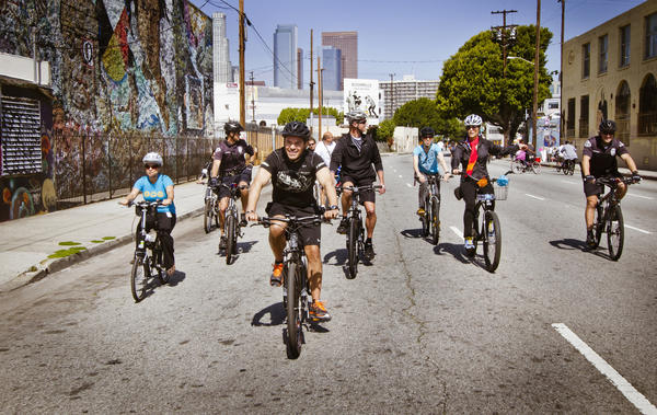 Mayor Antonio Villaraigosa rides in L.A.'s CicLAvia in April 2012.