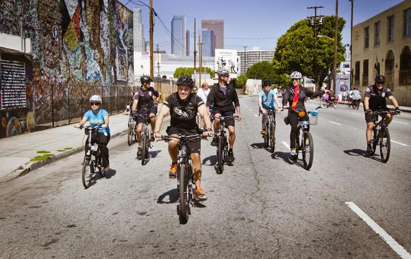 Mayor Antonio Villaraigosa rides in L.A.'s CicLAvia in April 2012.