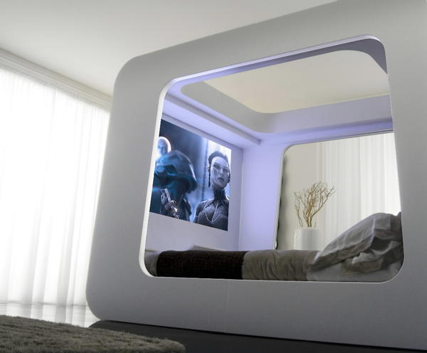 The HiCan bed embraces technology to the point you might forget which app is used for sleep. It boasts a 70-inch, slide-down projection screen and iPod-friendly controls.