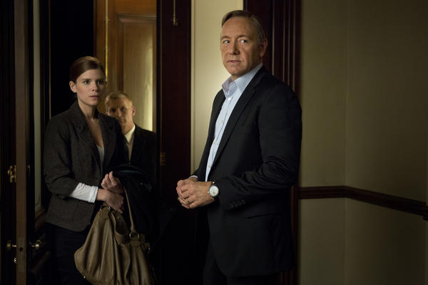 "Kate Mara, who plays a reporter, and Kevin Spacey, who stars as a congressman bent on revenge, in a scene from ""House of Cards,"" available on Netflix starting Feb. 1."