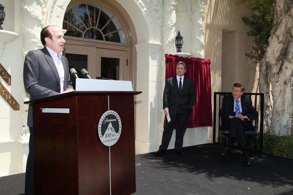 Viacom CEO Philippe Dauman, with Paramount Pictures chairman Brad Grey and Viacom chairman Sumner Redstone in background.