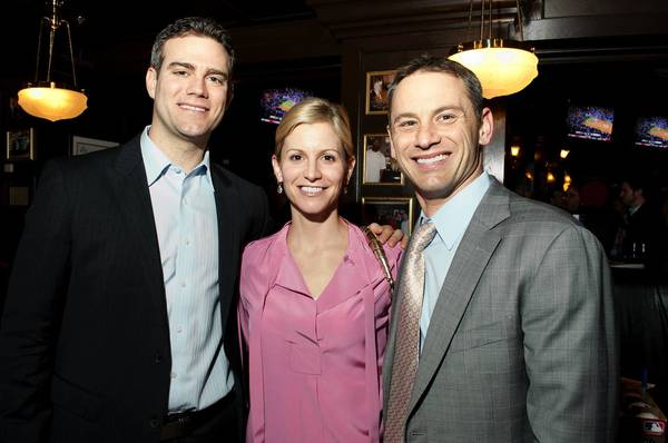 Theo Epstein, Merrill Hoyer and Jed Hoyer at Woody's Winter Warmup on Friday January 18, 2013 at Harry Caray's in Navy Pier in Chicago, Illinois.