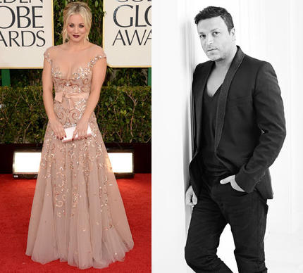 Actress Kaley Cuoco in a Zuhair Murad design at the 2013 Golden Globe Awards. On the right, designer Zuhair Murad.