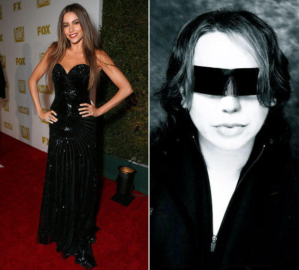 Sofia Vergara in a Michael Cinco design at the 2013 Golden Globe Awards. On the right, designer Michael Cinco.