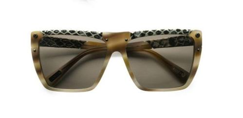 Lanvin snake-print leather accented modified square sunglasses , $475 from Saksfifthavenue.com