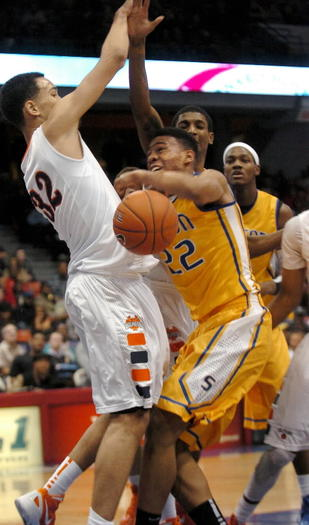 Young's Paul White, left, will guard Simeon's Jabari Parker on Saturday during their game at Chicago State.