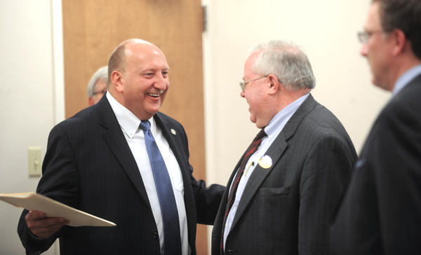 Mayor Ed Pawlowski talks with supporters before he announces his candidacy for mayor at the IBEW Union Hall in Allentown on Monday.