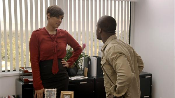 "Cynthia Kaye McWilliams, as lawyer Trina Shaw, with Kevin Hart in a scene from BET's ""Real Husbands of Hollywood."""