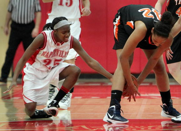 Diamond Thompson, right, is one of several Wheaton South players to be injured this season.