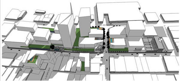 Massing of the proposed City Market project in the garment district of downtown Los Angeles.