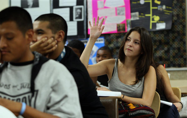 Students are seen during a Personal Growth and Development class at Pasadena Community College in 2012. Gov. Jerry Brown wants to reshape how California's community colleges function.