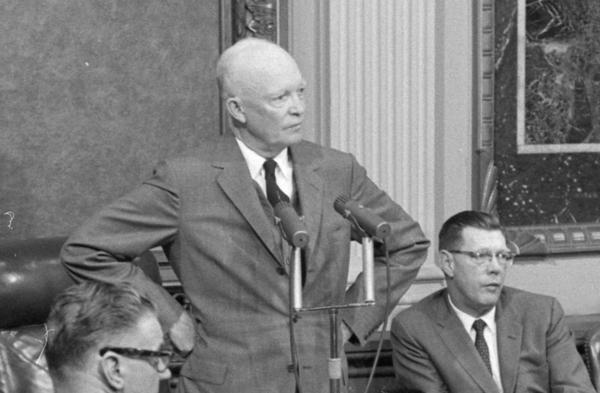 President Dwight D. Eisenhower is seen during a news conference at the White House on Oct. 9, 1957.