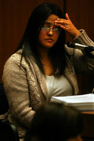 Bell City Clerk Rebecca Valdez, shown at a preliminary hearing in 2011, was the first witness to testify Friday as the corruption trial of six former council members got underway.