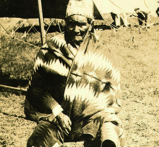 First celebrity customer Geronimo poses wearing a Pendleton robe (blanket). The company tradition of creating individual blanket designs for American Indian tribes continues to the present day.