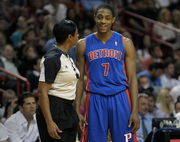 Detroit Pistons guard Brandon Knight has a few words with referee Violet Palmer during the first half against the Miami Heat.