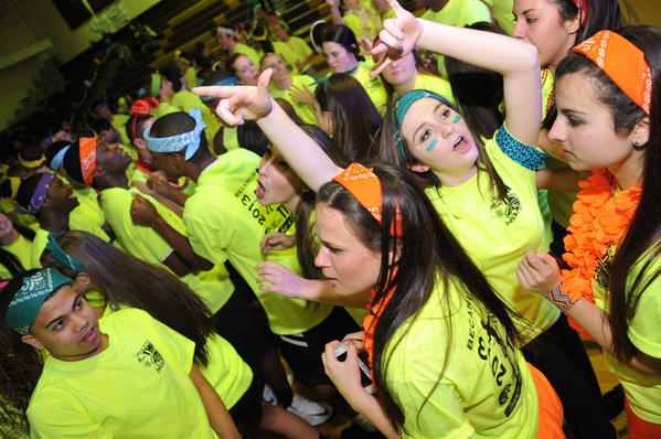 Bethlehem Catholic High School held its Mini-THON, an all night dance-a-thon that raises money for the PennState Children's Hospital in Hershey, PA on Friday night through Saturday morning.  The money raised from the dance-a-thon is donated to The Four Diamonds, which aides children with cancer and their families.  Four Diamonds also contributes to children's cancer research.