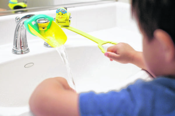 Aqueduck Products make it easier for children to use the bathroom sink without help from Mom or Dad. The company makes a faucet extender that funnels water forward in the sink so little hands can reach the water.