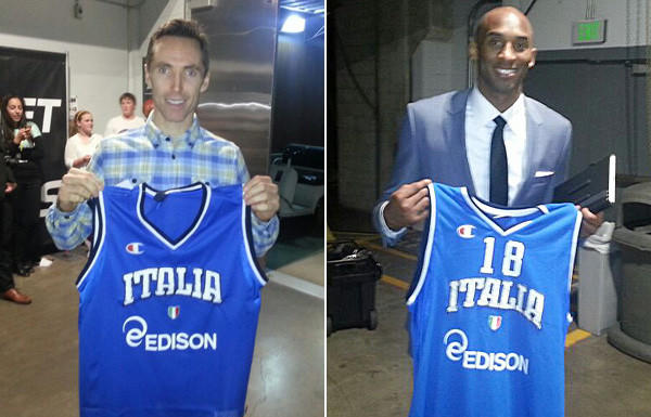 Lakers guards Steve Nash, left, and Kobe Bryant display their national team jerseys from Italy.