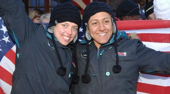 Katie Eberling (left) and Elana Meyers celebrate their world silver medal.