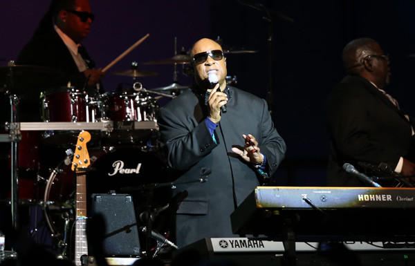 Stevie Wonder performs Monday night during President Obama's inaugural ball at the Walter E. Washington Convention Center.