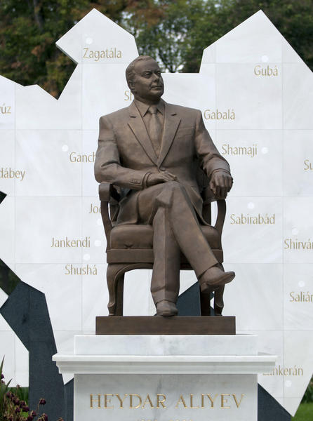 A life-size bronze statue of late Azerbaijan President Heydar Aliyev in Mexico City, seen in October. Workers removed the much-derided statue in the predawn darkness of Saturday.