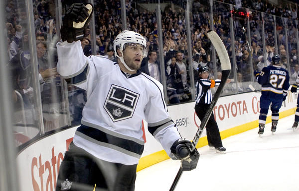 Winger Simon Gagne, celebrating a goal, will return to the Kings' lineup Saturday night.