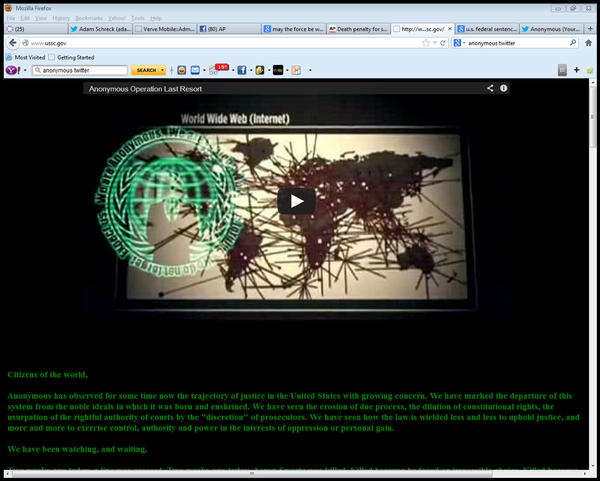 This screen shot shows the U.S. Sentencing Commission's website after it was hacked early Saturday by a collective called Anonymous, in protest of the prosecution of the late Aaron Swartz.