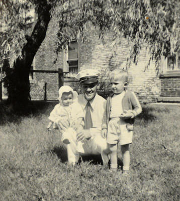 Pictured , Donna, (left) less then one years old, held by Mike's grandfather Leo Speth, who was fire chief of the Darktown Fire Company. and Mike who was 3, circa spring of 1951. Married couple Donna and Mike Bednar who live on Water Street in Darktown and grew up together and never left Darktown.
