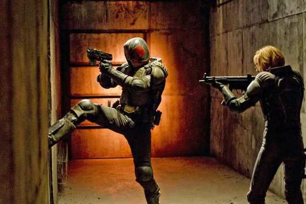 "Judge Dredd, played by Karl Urban, and Anderson, played by Olivia Thirlby, in ""Dredd 3D."""