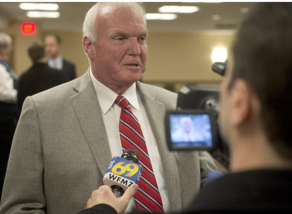 Phillies Manager Charlie Manuel talks to the media during the Phillies annual Winter Caravan held at the Sands Event Center in Bethlehem on Thursday.