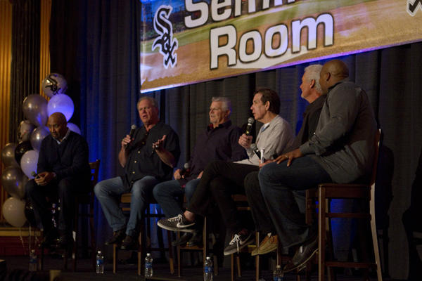 "The ""Record Setters"" Seminar featuring Ed Farmer with Harold Baines, Greg Luzinski, Bill Melton, Tom Paciorek and Frank Thomas photographed at Soxfest 2013 at the Palmer House HIlton hotel (17 E. Monroe St.) on Saturday, January 26, 2013."