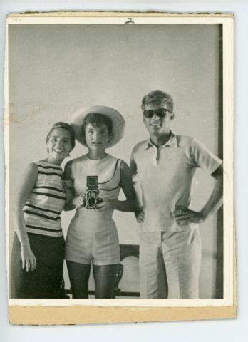 This photograph of Ethel, Jackie and John F. Kennedy, provided by John McInnis Auctioneers, is among the items of Kennedy memorabilia being auctioned by the estate of David Powers, the president's special assistant.