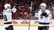 GLENDALE, Ariz. — The Kings got their first win of the season, each member of their top line got his first point of the season, and rookie defenseman Jake Muzzin played clutch minutes while scoring his first NHL goal.
