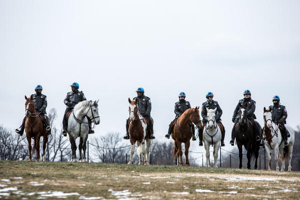 Park Police officers on horseback keep watch over a rally on the National Mall for stricter gun control laws on January 26, 2013 in Washington, DC. Demonstrators included survivors of the shooting at Virginia Tech, Newtown, Connecticut, and others. (