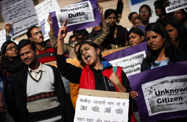 Demonstrators protest gender discrimination and sexual violence Saturday in New Delhi. The rape and killing of a 23-year-old student has galvanized protesters.