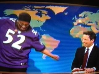"Kenan Thompson performs the Squirrel Dance as Ray Lewis during a sketch on ""Saturday Night Live's"" Weekedn Update."