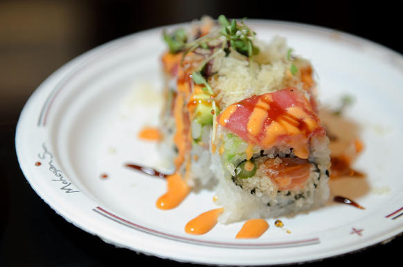Feng's 'Chef Roll,' with salmon, yellowtail, tuna, masago, radish sprouts, asparagus, avocado, spicy mayo and eel sauce.