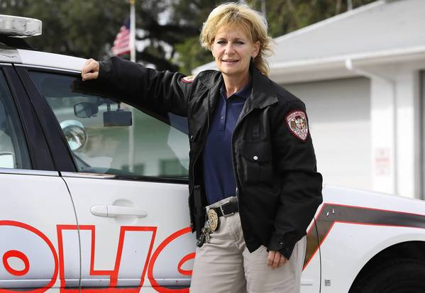 Beckie Sirolli, pictured here on Tuesday, January 22, 2013, recently became the first female sergeant in the history of the Fruitland Park Police Department, where she's been an officer for just over two years. (Tom Benitez/Orlando Sentinel)