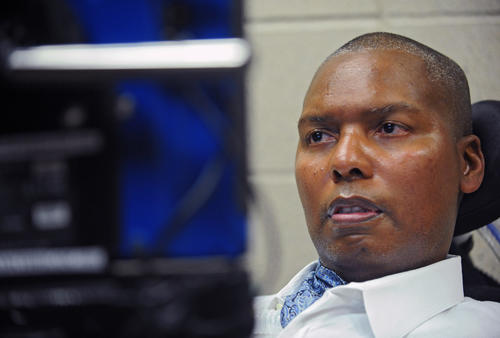 O.J. Brigance is pictured using his eye to operate a computer screen to communicate with others. Former Ravens player and the senior advisor to Players Development O. J. Brigance is also the spiritual leader of the team since he was diagnosed with ALS in 2007.