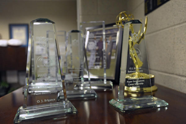 These are awards for O.J. Brigance's work in player development.