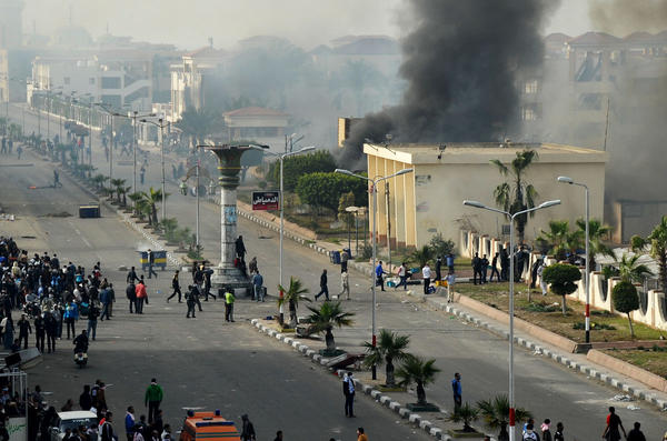 Protesters clash with police in Port Said, Egypt.