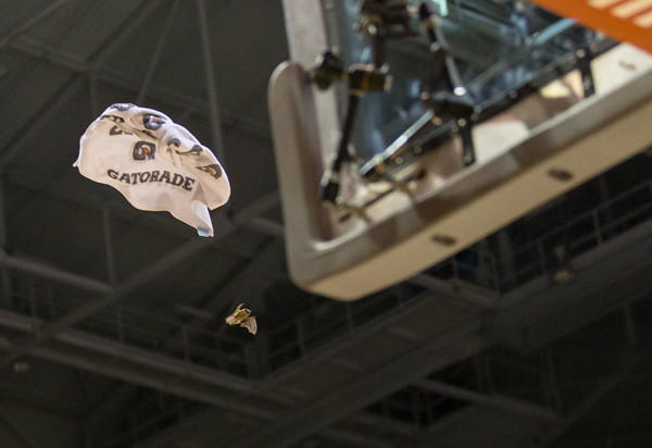 Players throw a towel at a bat flying in the Bradley Center during the second half of the game between the Providence Friars and Marquette Golden Eagles. Marquette won 81-71.